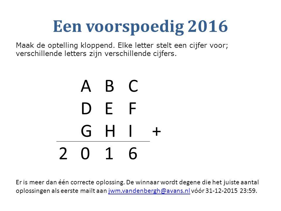 Een voorspoedig 2016 ABC DEF GHI+ 2016 Maak de optelling kloppend. Elke letter stelt een cijfer voor; verschillende letters zijn verschillende cijfers
