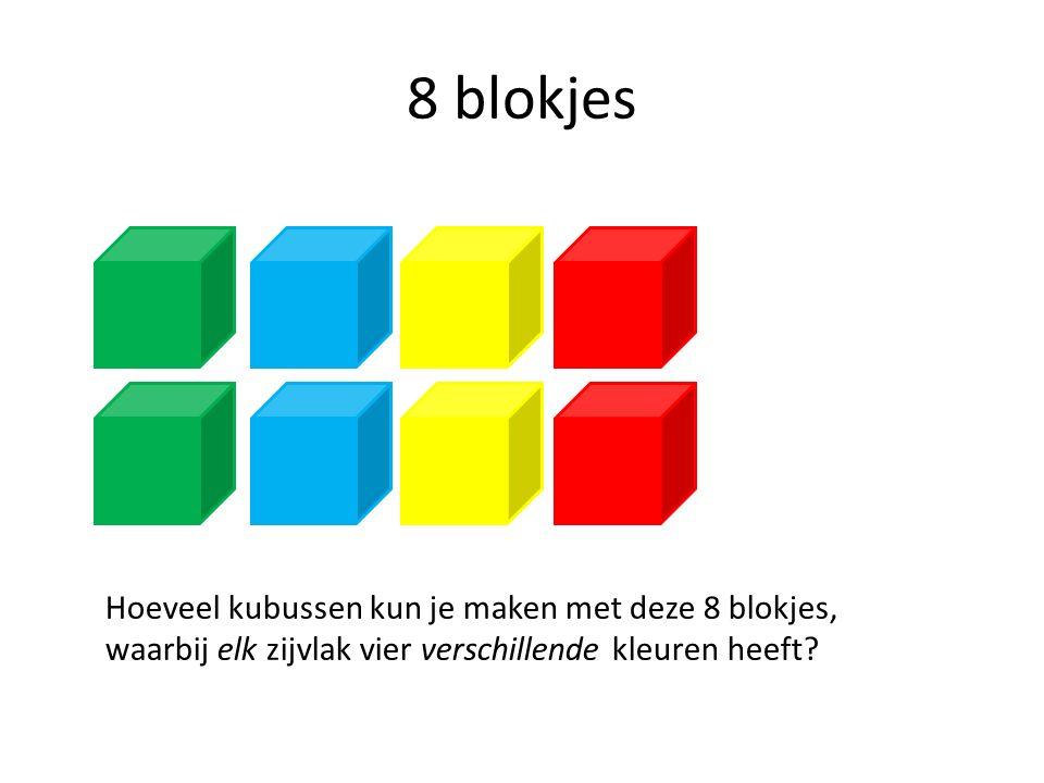 8 blokjes Hoeveel kubussen kun je maken met deze 8 blokjes, waarbij elk zijvlak vier verschillende kleuren heeft?