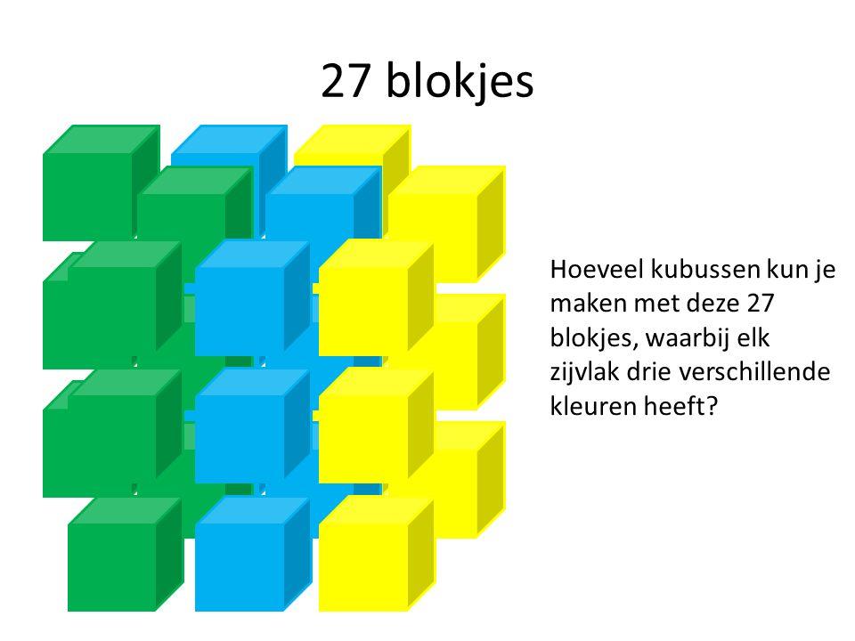 27 blokjes Hoeveel kubussen kun je maken met deze 27 blokjes, waarbij elk zijvlak drie verschillende kleuren heeft?
