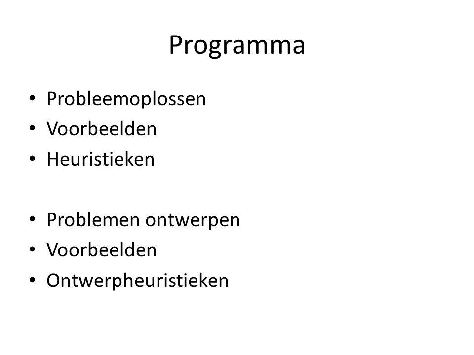 Programma Probleemoplossen Voorbeelden Heuristieken Problemen ontwerpen Voorbeelden Ontwerpheuristieken