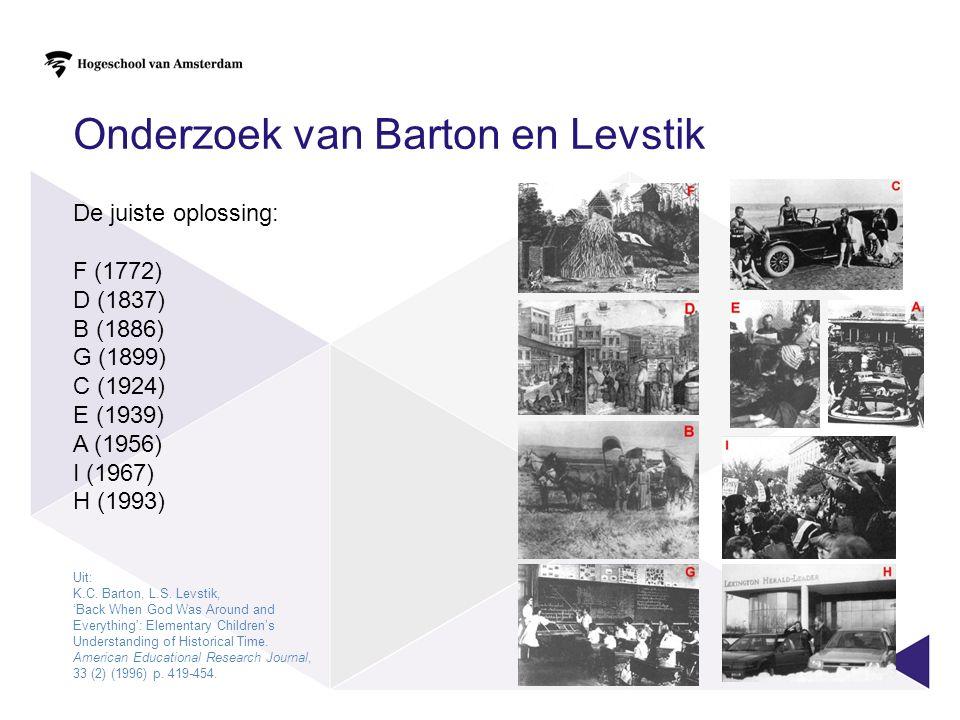 De juiste oplossing: F (1772) D (1837) B (1886) G (1899) C (1924) E (1939) A (1956) I (1967) H (1993) Onderzoek van Barton en Levstik Uit: K.C.