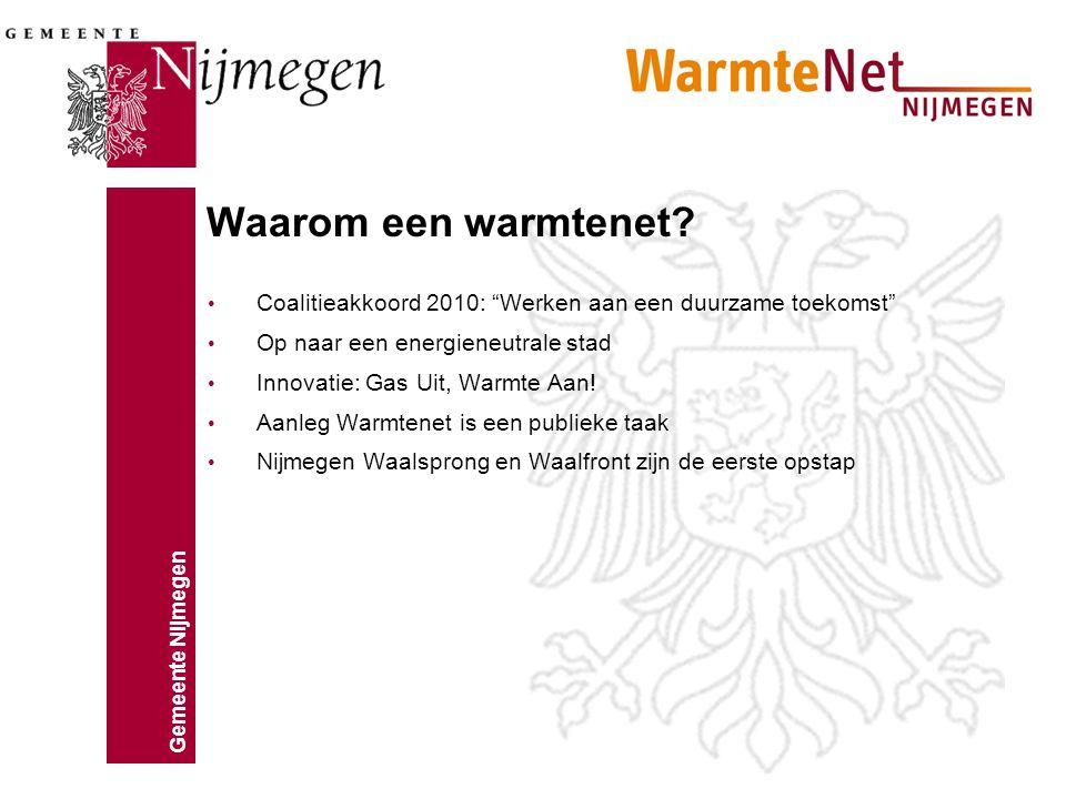 """Gemeente Nijmegen Waarom een warmtenet? Coalitieakkoord 2010: """"Werken aan een duurzame toekomst"""" Op naar een energieneutrale stad Innovatie: Gas Uit,"""