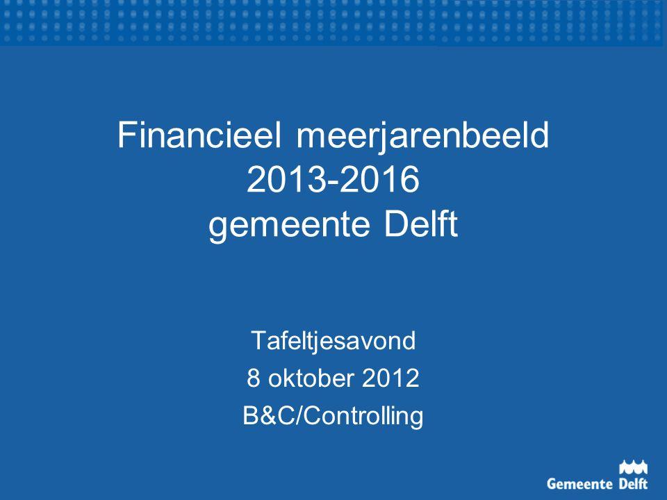 Financieel meerjarenbeeld 2013-2016 gemeente Delft Tafeltjesavond 8 oktober 2012 B&C/Controlling