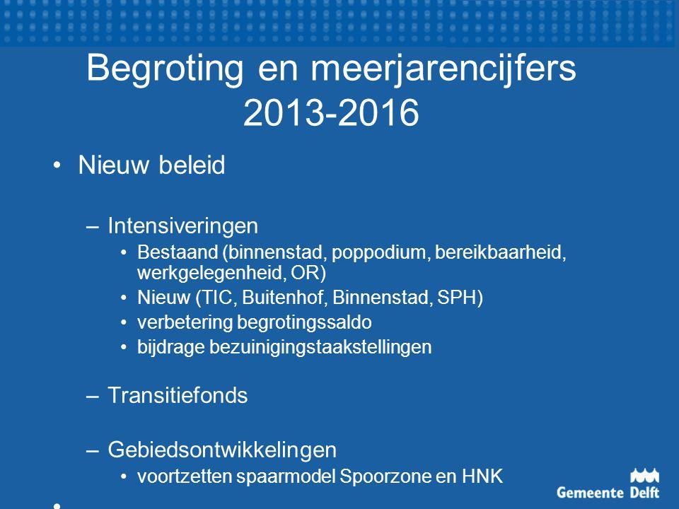 Begroting en meerjarencijfers 2013-2016 Nieuw beleid –Intensiveringen Bestaand (binnenstad, poppodium, bereikbaarheid, werkgelegenheid, OR) Nieuw (TIC