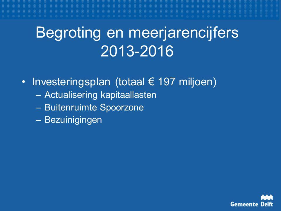 Begroting en meerjarencijfers 2013-2016 Investeringsplan (totaal € 197 miljoen) –Actualisering kapitaallasten –Buitenruimte Spoorzone –Bezuinigingen