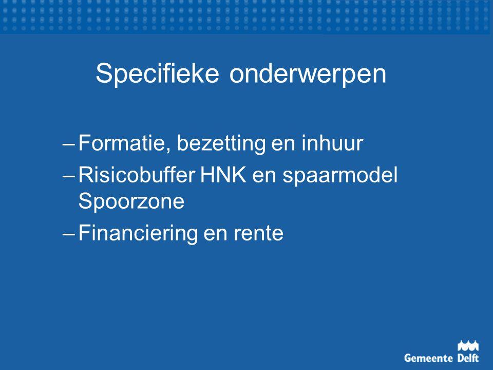 Specifieke onderwerpen –Formatie, bezetting en inhuur –Risicobuffer HNK en spaarmodel Spoorzone –Financiering en rente