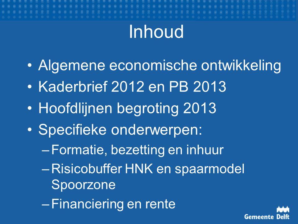 Inhoud Algemene economische ontwikkeling Kaderbrief 2012 en PB 2013 Hoofdlijnen begroting 2013 Specifieke onderwerpen: –Formatie, bezetting en inhuur