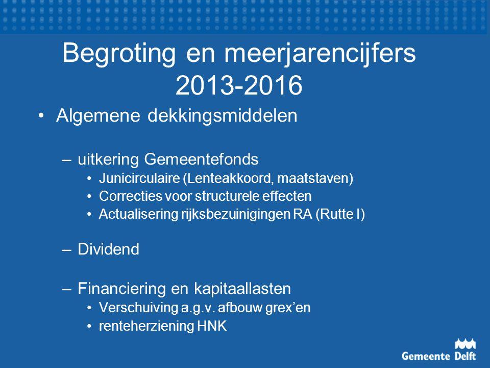 Begroting en meerjarencijfers 2013-2016 Algemene dekkingsmiddelen –uitkering Gemeentefonds Junicirculaire (Lenteakkoord, maatstaven) Correcties voor structurele effecten Actualisering rijksbezuinigingen RA (Rutte I) –Dividend –Financiering en kapitaallasten Verschuiving a.g.v.