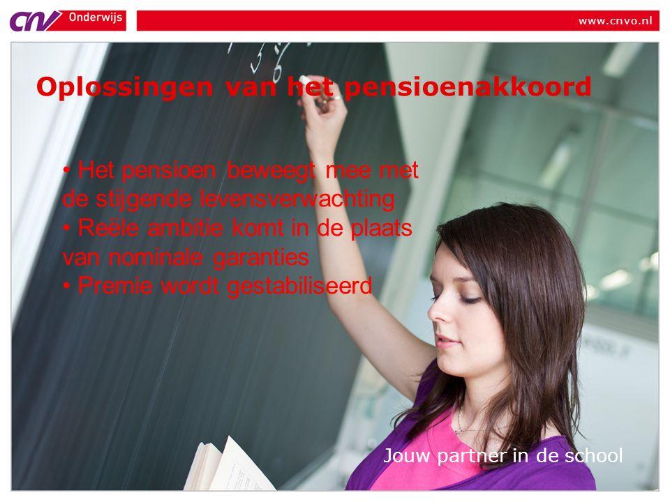 www.cnvo.nl Jouw partner in de school Oplossingen van het pensioenakkoord Het pensioen beweegt mee met de stijgende levensverwachting Reële ambitie komt in de plaats van nominale garanties Premie wordt gestabiliseerd