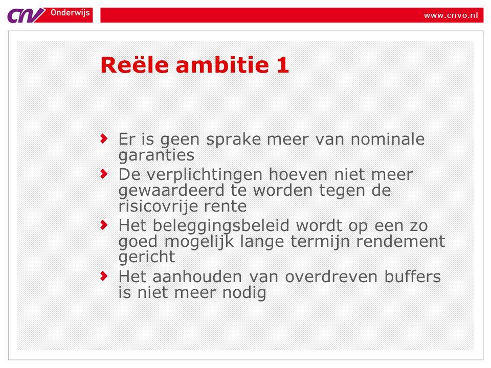www.cnvo.nl Er is geen sprake meer van nominale garanties De verplichtingen hoeven niet meer gewaardeerd te worden tegen de risicovrije rente Het beleggingsbeleid wordt op een zo goed mogelijk lange termijn rendement gericht Het aanhouden van overdreven buffers is niet meer nodig Reële ambitie 1