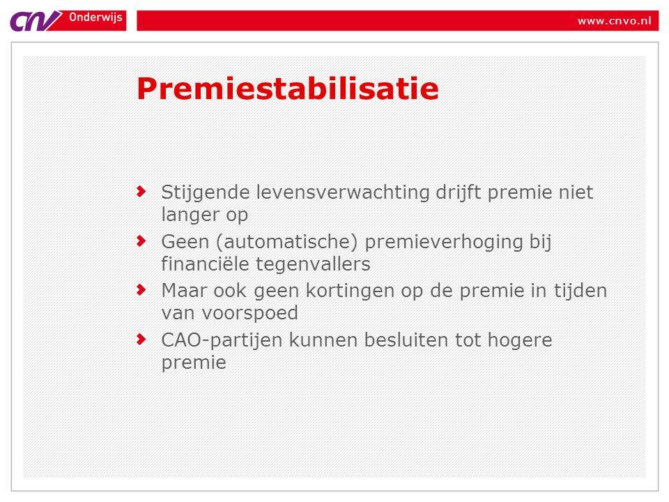 www.cnvo.nl Premiestabilisatie Stijgende levensverwachting drijft premie niet langer op Geen (automatische) premieverhoging bij financiële tegenvallers Maar ook geen kortingen op de premie in tijden van voorspoed CAO-partijen kunnen besluiten tot hogere premie