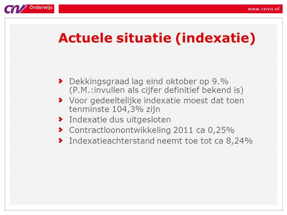 www.cnvo.nl Dekkingsgraad lag eind oktober op 9.% (P.M.:invullen als cijfer definitief bekend is) Voor gedeeltelijke indexatie moest dat toen tenminste 104,3% zijn Indexatie dus uitgesloten Contractloonontwikkeling 2011 ca 0,25% Indexatieachterstand neemt toe tot ca 8,24% Actuele situatie (indexatie)
