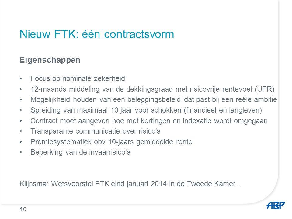 10 Nieuw FTK: één contractsvorm Eigenschappen Focus op nominale zekerheid 12-maands middeling van de dekkingsgraad met risicovrije rentevoet (UFR) Mog