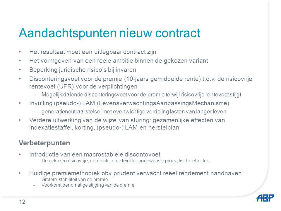 12 Aandachtspunten nieuw contract Het resultaat moet een uitlegbaar contract zijn Het vormgeven van een reële ambitie binnen de gekozen variant Beperk