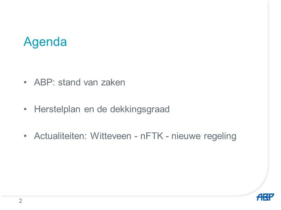 2 Agenda ABP: stand van zaken Herstelplan en de dekkingsgraad Actualiteiten: Witteveen - nFTK - nieuwe regeling