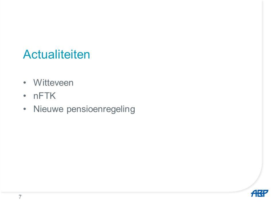 8 Nieuw fiscaal kader per 1-1-2014 Verhoging pensioenrichtleeftijd van 65 jaar → 67 jaar Verlaging opbouwpercentage ouderdomspensioen met 0,1% –voor ABP (lage franchise) van 2,05% naar 1,95%  Beperking totale fiscale ruimte pensioenopbouw met ± 16%  Betreft toekomstige pensioenopbouw, bestaande pensioenen worden hierdoor niet aangetast  Pensioenregeling ABP 2014 volgt fiscaal kader