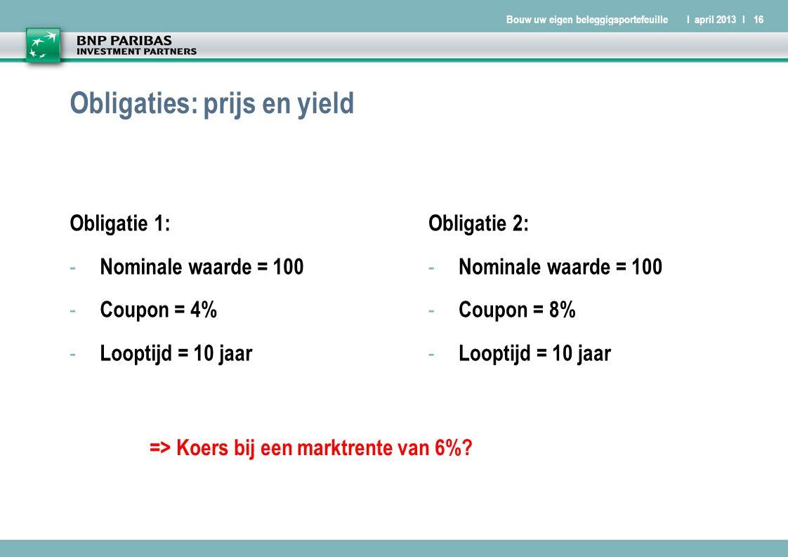 Bouw uw eigen beleggigsportefeuilleI april 2013 I16 Obligaties: prijs en yield Obligatie 1: - Nominale waarde = 100 - Coupon = 4% - Looptijd = 10 jaar Obligatie 2: - Nominale waarde = 100 - Coupon = 8% - Looptijd = 10 jaar => Koers bij een marktrente van 6%