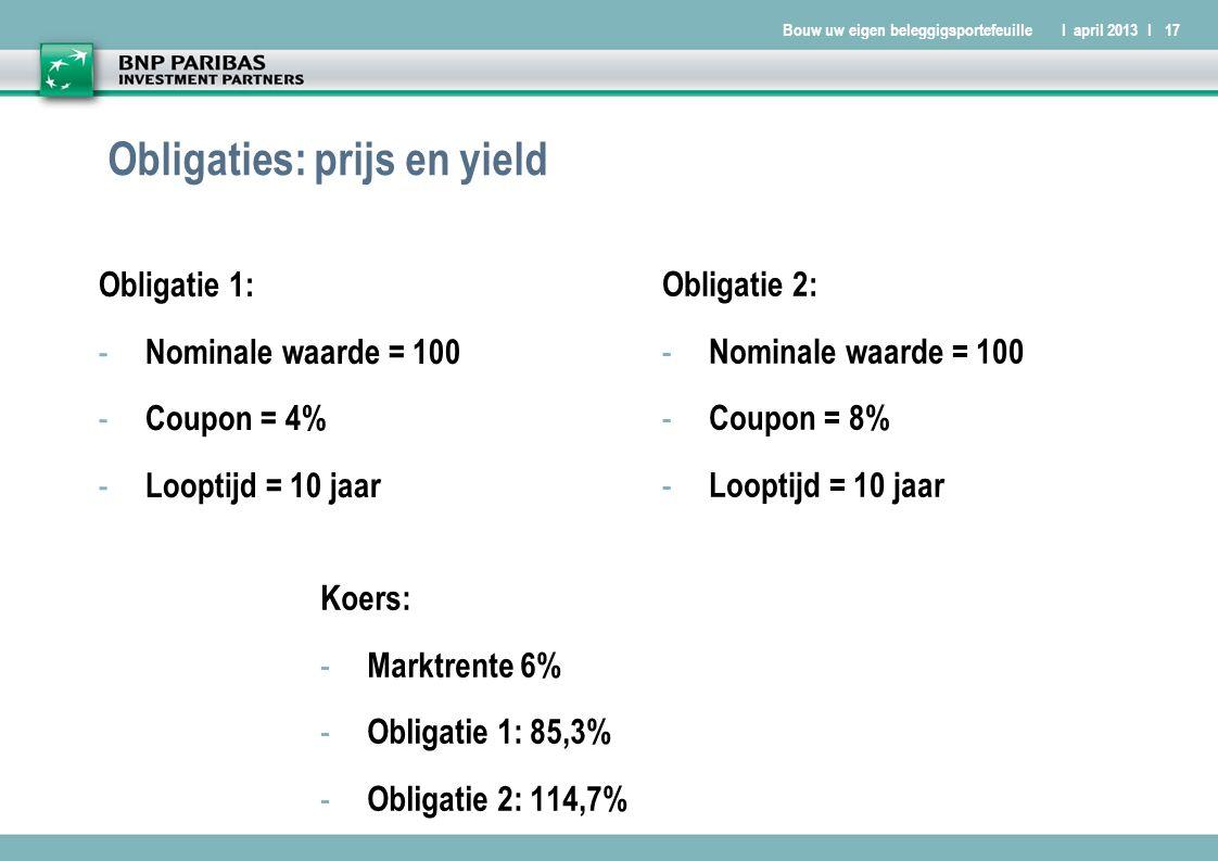 Bouw uw eigen beleggigsportefeuilleI april 2013 I17 Obligaties: prijs en yield Obligatie 1: - Nominale waarde = 100 - Coupon = 4% - Looptijd = 10 jaar Obligatie 2: - Nominale waarde = 100 - Coupon = 8% - Looptijd = 10 jaar Koers: - Marktrente 6% - Obligatie 1: 85,3% - Obligatie 2: 114,7%