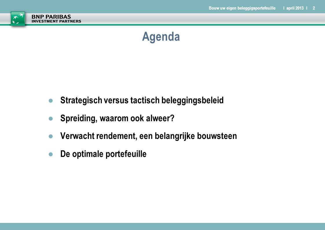 Bouw uw eigen beleggigsportefeuilleI april 2013 I2 Agenda ● Strategisch versus tactisch beleggingsbeleid ● Spreiding, waarom ook alweer.