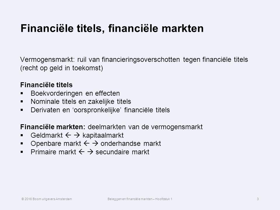 Financiële titels, financiële markten Vermogensmarkt: ruil van financieringsoverschotten tegen financiële titels (recht op geld in toekomst) Financiële titels  Boekvorderingen en effecten  Nominale titels en zakelijke titels  Derivaten en 'oorspronkelijke' financiële titels Financiële markten: deelmarkten van de vermogensmarkt  Geldmarkt   kapitaalmarkt  Openbare markt   onderhandse markt  Primaire markt   secundaire markt 3© 2016 Boom uitgevers AmsterdamBeleggen en financiële markten – Hoofdstuk 1