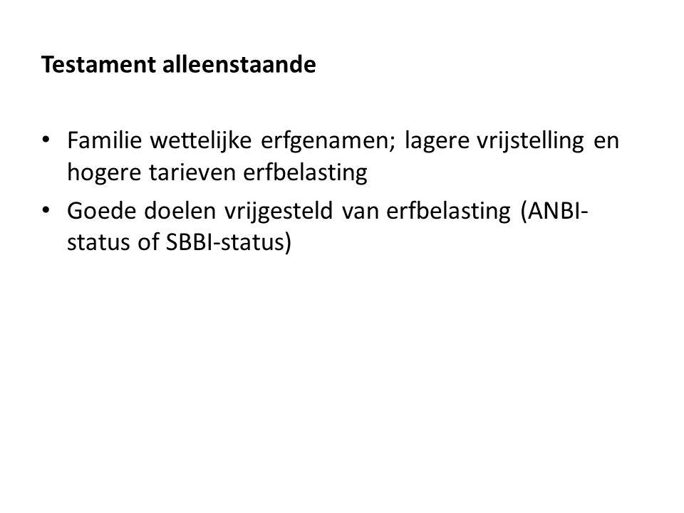 Testament alleenstaande Familie wettelijke erfgenamen; lagere vrijstelling en hogere tarieven erfbelasting Goede doelen vrijgesteld van erfbelasting (ANBI- status of SBBI-status)
