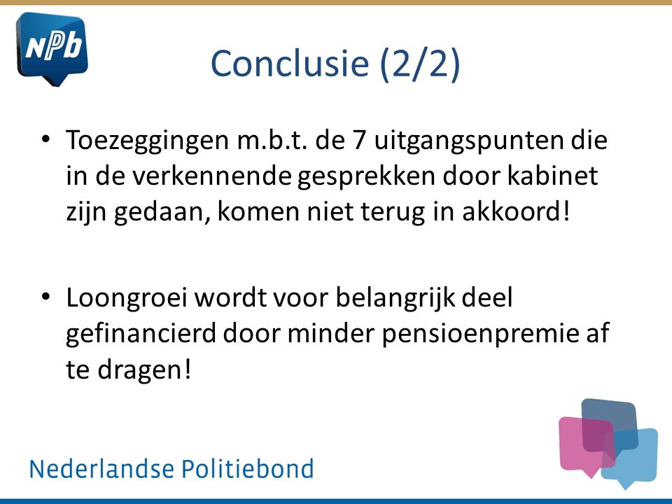 Conclusie (2/2) Toezeggingen m.b.t.