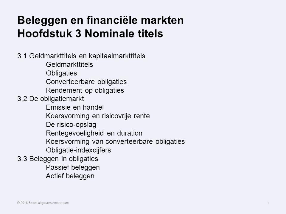 Beleggen en financiële markten Hoofdstuk 3 Nominale titels 3.1 Geldmarkttitels en kapitaalmarkttitels Geldmarkttitels Obligaties Converteerbare obliga