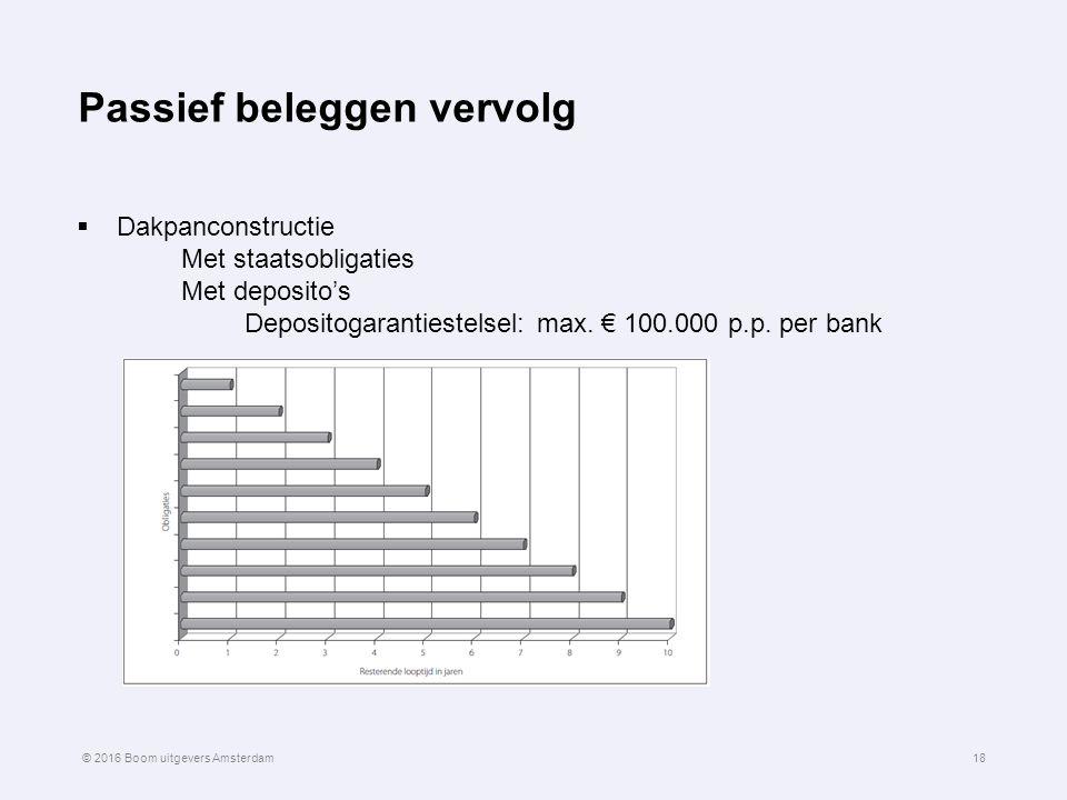 Passief beleggen vervolg  Dakpanconstructie Met staatsobligaties Met deposito's Depositogarantiestelsel: max. € 100.000 p.p. per bank 18© 2016 Boom u