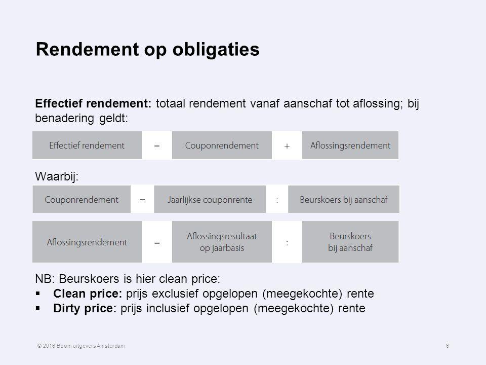Rendement op obligaties Effectief rendement: totaal rendement vanaf aanschaf tot aflossing; bij benadering geldt: Waarbij: NB: Beurskoers is hier clea