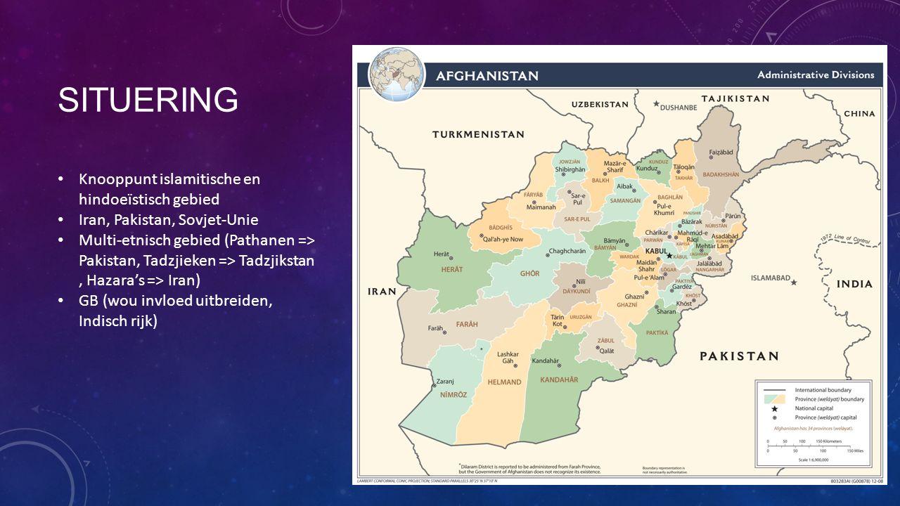 SITUERING Knooppunt islamitische en hindoeïstisch gebied Iran, Pakistan, Sovjet-Unie Multi-etnisch gebied (Pathanen => Pakistan, Tadzjieken => Tadzjikstan, Hazara's => Iran) GB (wou invloed uitbreiden, Indisch rijk)
