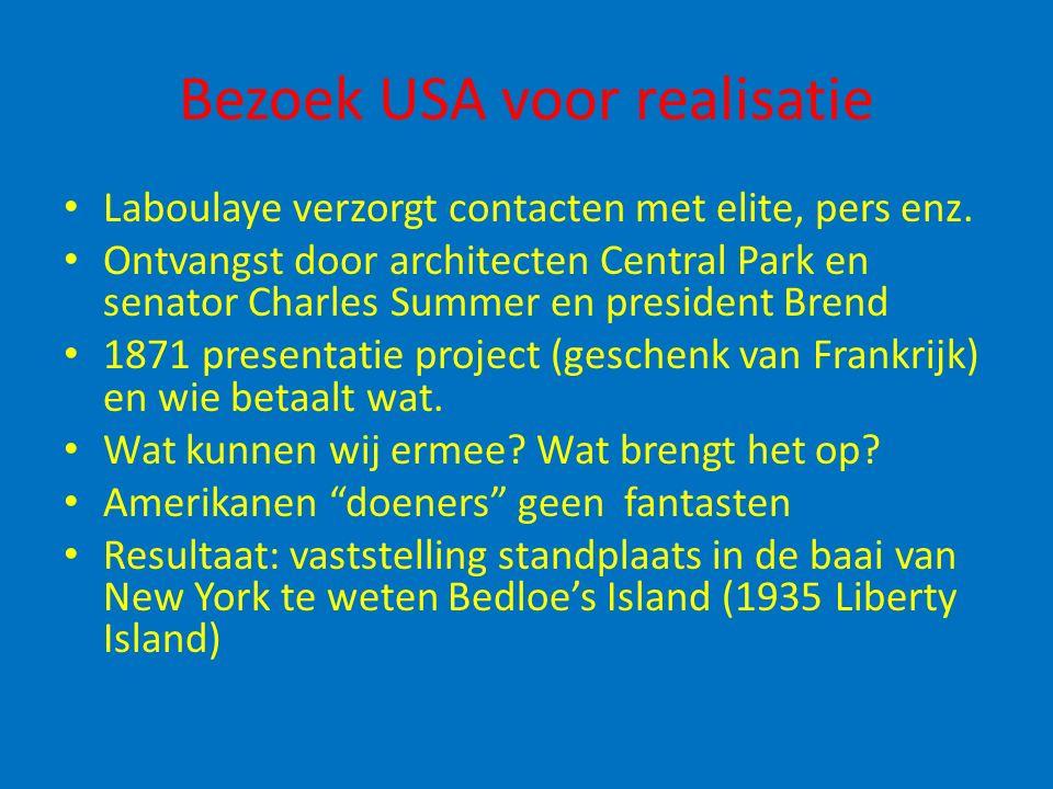 Bezoek USA voor realisatie Laboulaye verzorgt contacten met elite, pers enz. Ontvangst door architecten Central Park en senator Charles Summer en pres