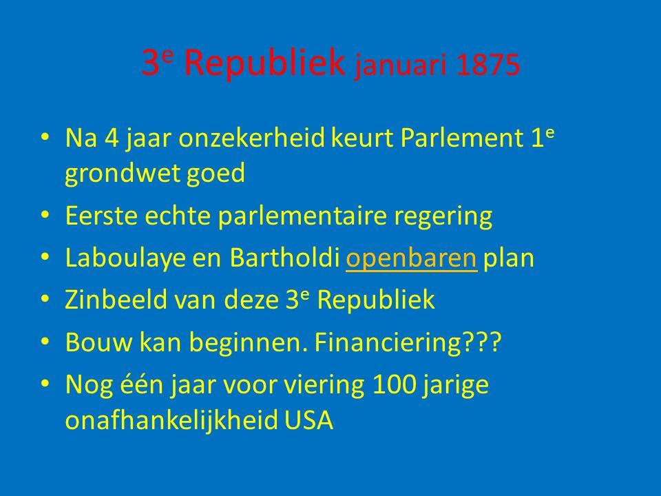 3 e Republiek januari 1875 Na 4 jaar onzekerheid keurt Parlement 1 e grondwet goed Eerste echte parlementaire regering Laboulaye en Bartholdi openbare