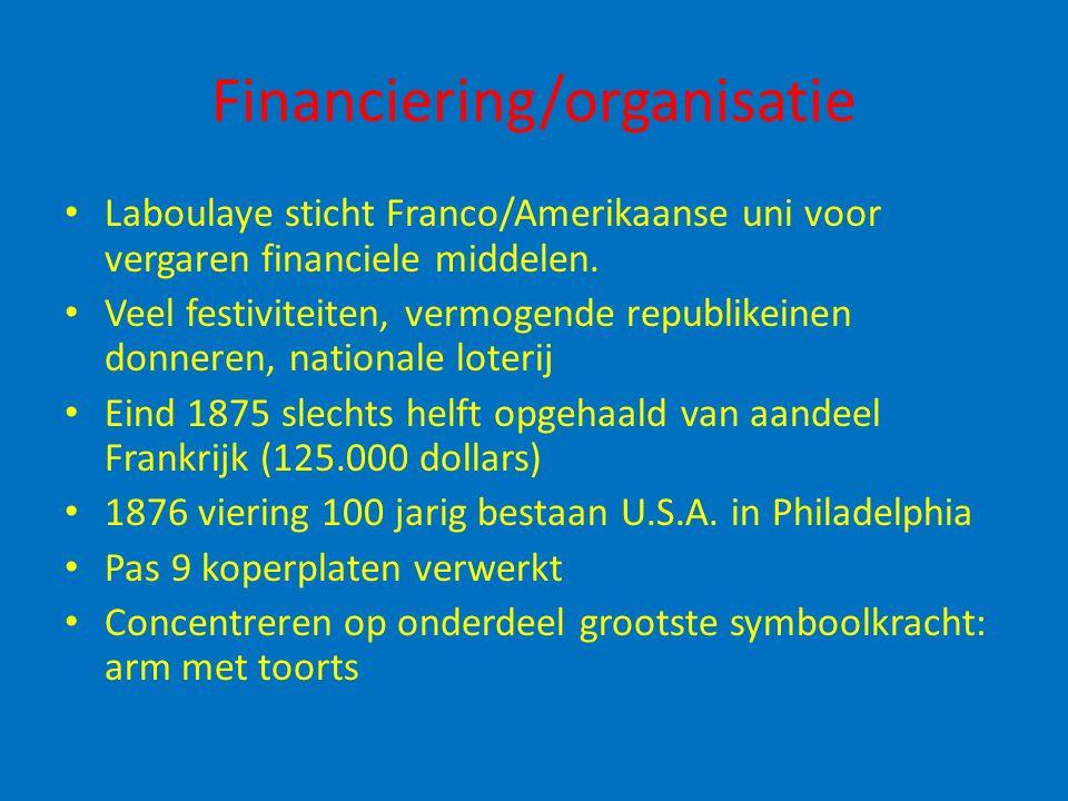 Financiering/organisatie Laboulaye sticht Franco/Amerikaanse uni voor vergaren financiele middelen. Veel festiviteiten, vermogende republikeinen donne