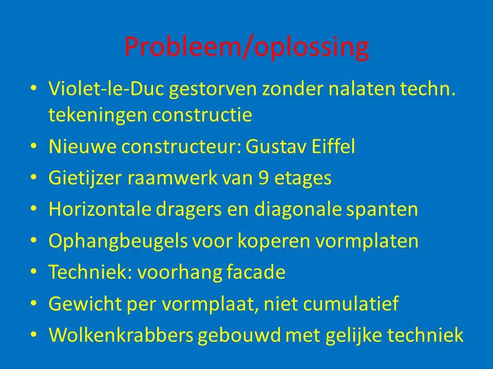 Probleem/oplossing Violet-le-Duc gestorven zonder nalaten techn. tekeningen constructie Nieuwe constructeur: Gustav Eiffel Gietijzer raamwerk van 9 et