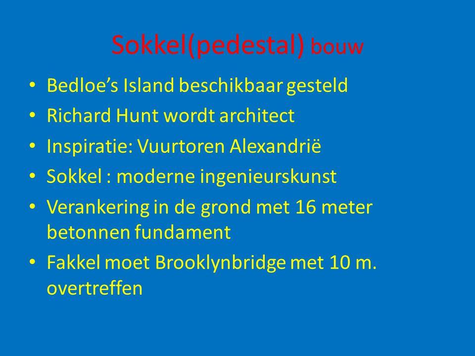 Sokkel(pedestal) bouw Bedloe's Island beschikbaar gesteld Richard Hunt wordt architect Inspiratie: Vuurtoren Alexandrië Sokkel : moderne ingenieurskun