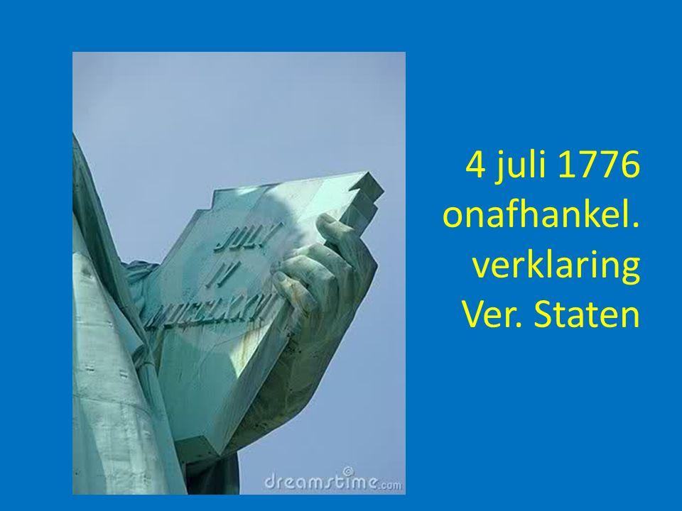 4 juli 1776 onafhankel. verklaring Ver. Staten