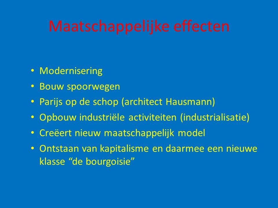 Maatschappelijke effecten Modernisering Bouw spoorwegen Parijs op de schop (architect Hausmann) Opbouw industriële activiteiten (industrialisatie) Cre