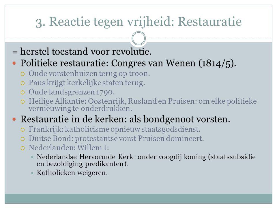 3. Reactie tegen vrijheid: Restauratie = herstel toestand voor revolutie.