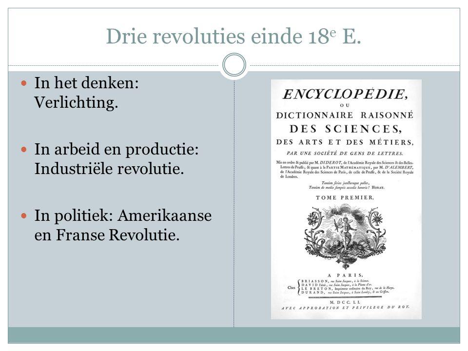 Drie revoluties einde 18 e E. In het denken: Verlichting.