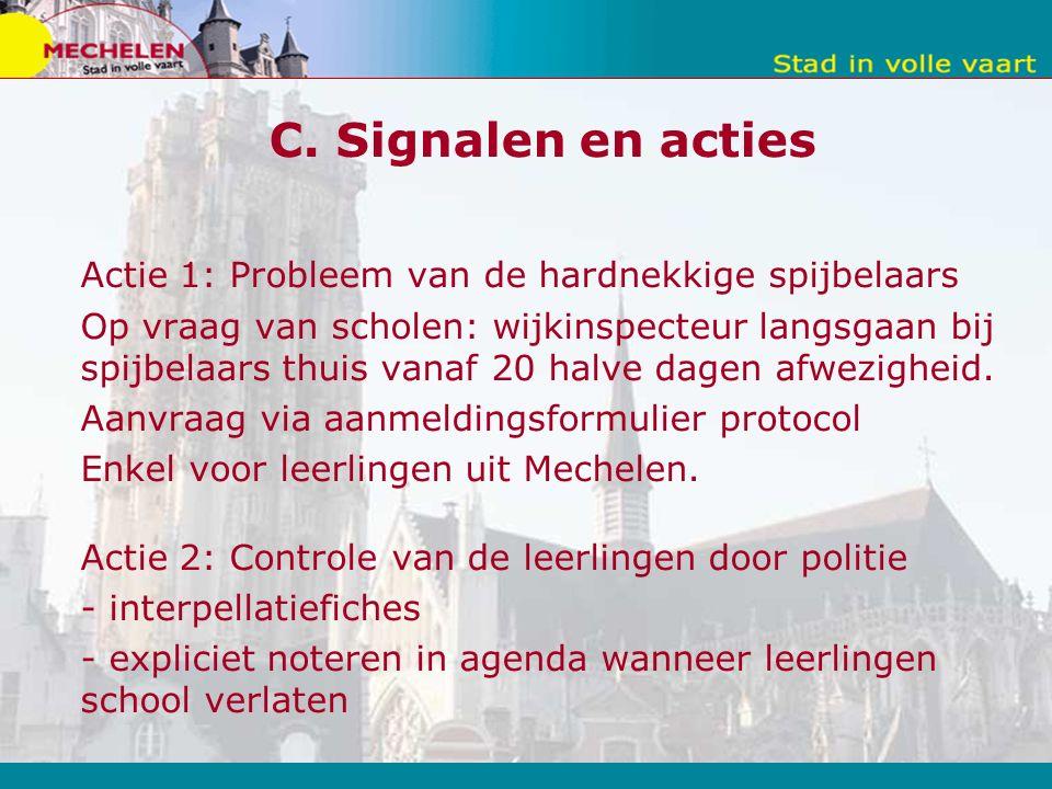 C. Signalen en acties Actie 1: Probleem van de hardnekkige spijbelaars Op vraag van scholen: wijkinspecteur langsgaan bij spijbelaars thuis vanaf 20 h