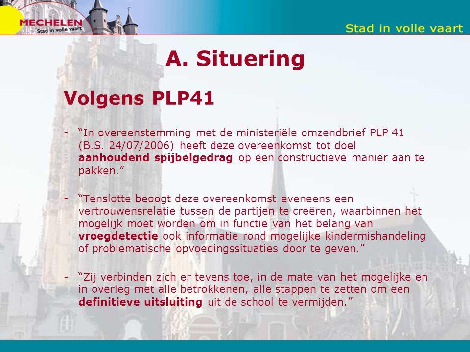 A. Situering Volgens PLP41 - In overeenstemming met de ministeriële omzendbrief PLP 41 (B.S.