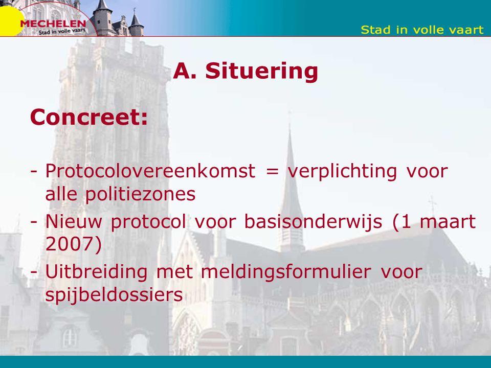 A. Situering Concreet: -Protocolovereenkomst = verplichting voor alle politiezones -Nieuw protocol voor basisonderwijs (1 maart 2007) -Uitbreiding met