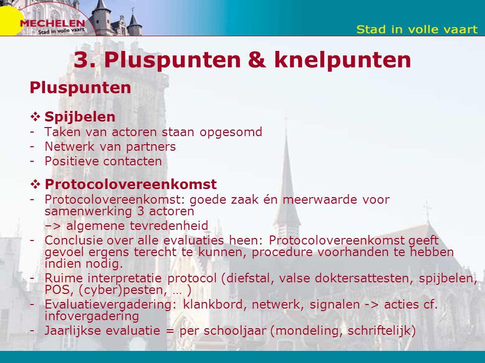3. Pluspunten & knelpunten Pluspunten  Spijbelen -Taken van actoren staan opgesomd -Netwerk van partners -Positieve contacten  Protocolovereenkomst