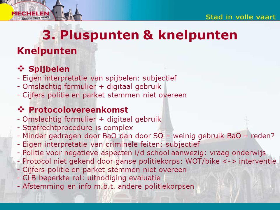 3. Pluspunten & knelpunten Knelpunten  Spijbelen - Eigen interpretatie van spijbelen: subjectief - Omslachtig formulier + digitaal gebruik - Cijfers
