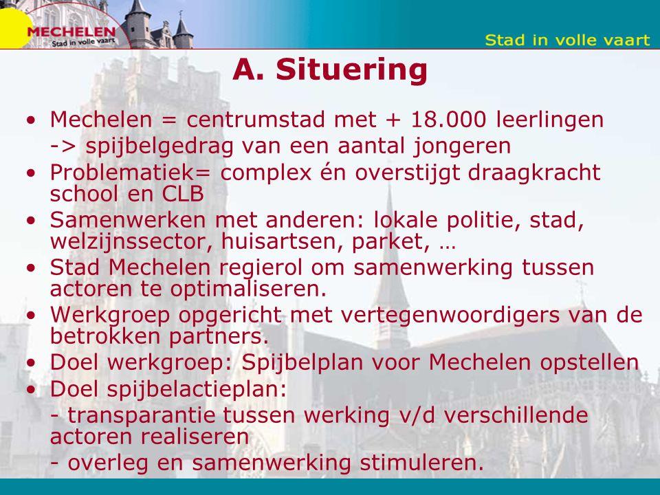A. Situering Mechelen = centrumstad met + 18.000 leerlingen -> spijbelgedrag van een aantal jongeren Problematiek= complex én overstijgt draagkracht s