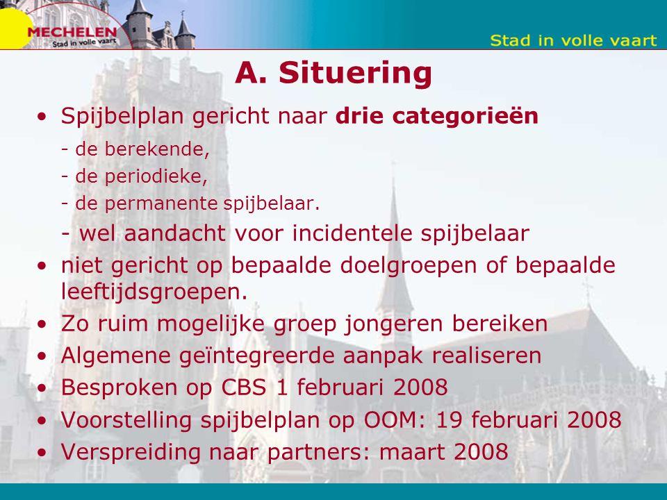 A. Situering Spijbelplan gericht naar drie categorieën - de berekende, - de periodieke, - de permanente spijbelaar. - wel aandacht voor incidentele sp