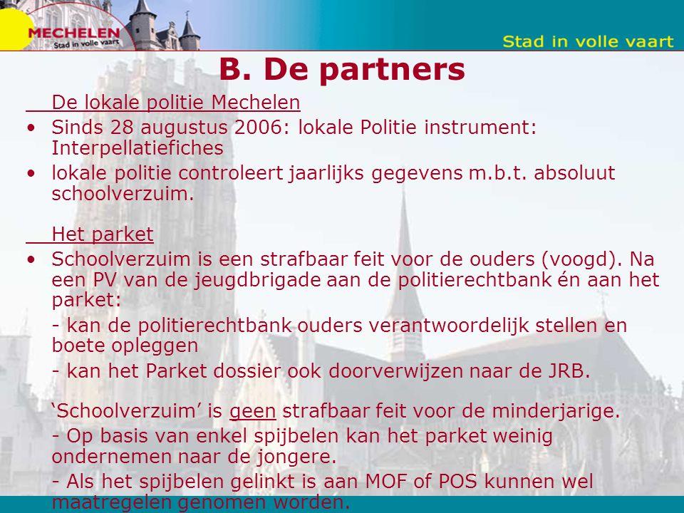 B. De partners De lokale politie Mechelen Sinds 28 augustus 2006: lokale Politie instrument: Interpellatiefiches lokale politie controleert jaarlijks