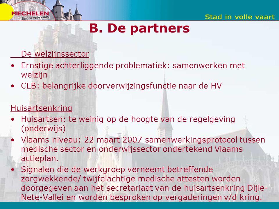 B. De partners De welzijnssector Ernstige achterliggende problematiek: samenwerken met welzijn CLB: belangrijke doorverwijzingsfunctie naar de HV Huis