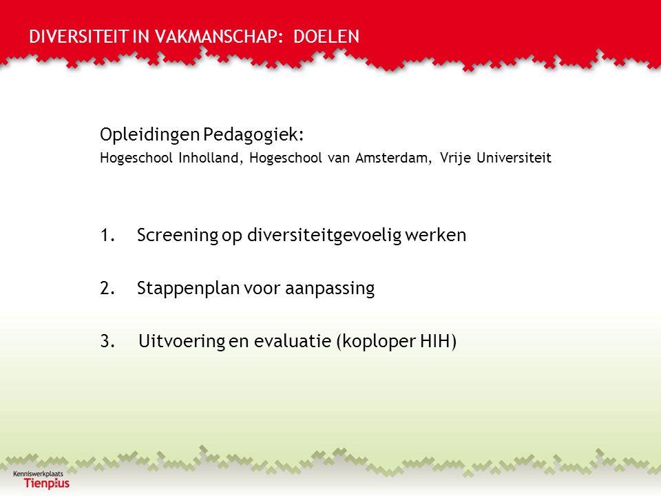 DIVERSITEIT IN VAKMANSCHAP: DOELEN Opleidingen Pedagogiek: Hogeschool Inholland, Hogeschool van Amsterdam, Vrije Universiteit 1.Screening op diversiteitgevoelig werken 2.Stappenplan voor aanpassing 3.