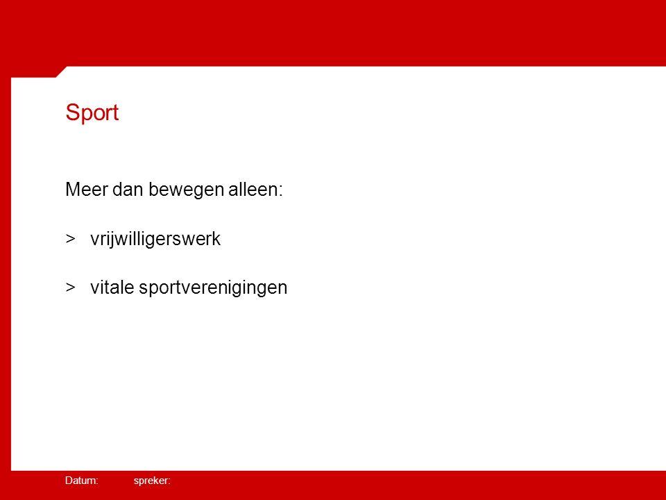 Datum: spreker: Sport Meer dan bewegen alleen: >vrijwilligerswerk >vitale sportverenigingen